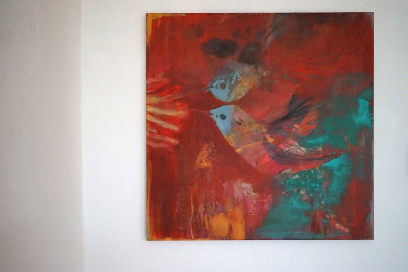 hummingbird 70x70cm oil-on-canvas_2020 Susanne Husemann